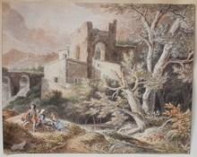 Jean Antoine CONSTANTIN D'AIX - Drawing-Watercolor - Paysage animé