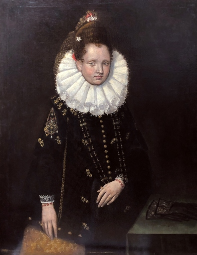 Lavinia FONTANA - Painting - Portrait of Margherita Gonzaga with pendant  Ganimede