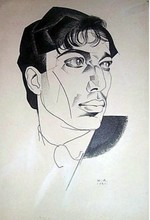 Youri Pavlovitch ANNENKOFF - Disegno Acquarello - Portrait of poet Boris Pasternak
