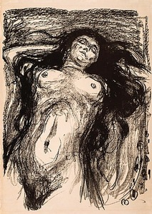 Edvard MUNCH, Woman with long hair, reclining