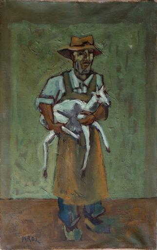 Abraham KROL - Painting - Paysan au chevreau