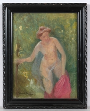 """Franz OBERMÜLLER - Pintura - """"Young Bather"""", Oil on Panel, early 20th Century"""