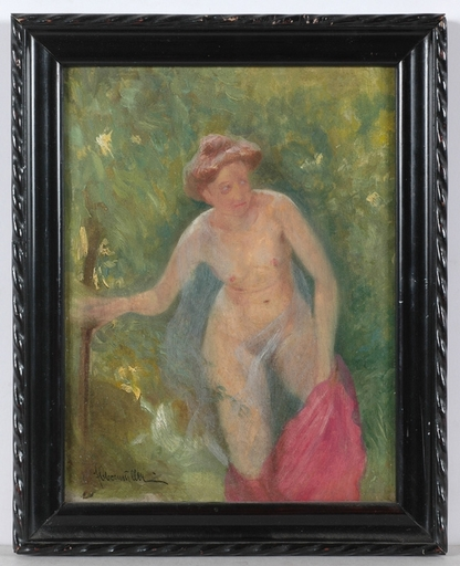 """Franz OBERMÜLLER - Peinture - """"Young Bather"""", Oil on Panel, early 20th Century"""
