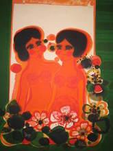 Frédéric MENGUY - Print-Multiple - Deux femmes aux fleurs,1986.