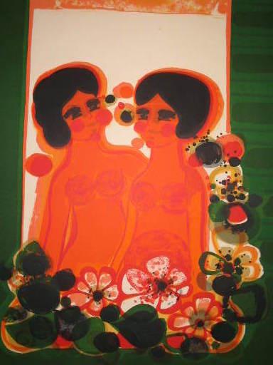 Frédéric MENGUY - Grabado - Deux femmes aux fleurs,1986.