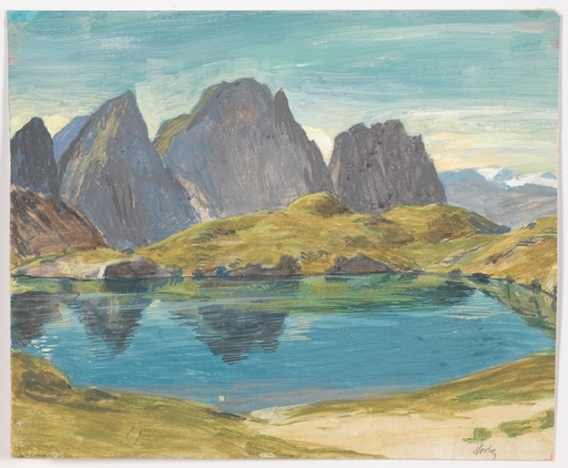 "Hugo NOSKE - Painting - ""Alpine Lake"" by Hugo Noske, ca 1925"
