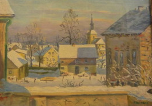 Paul WEIMANN - Gemälde - verschneites schlesisches  Dorf