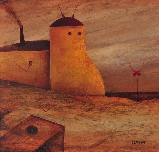 Hermann SERIENT - Painting - Landschaft mit Objekt