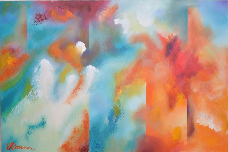 Romeo DOBROTA - Painting - 3 worlds, Blue, Red, White