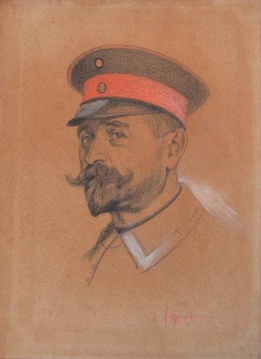 Nicholas DE GRANDMAISON - Dibujo Acuarela - portrait of an officer