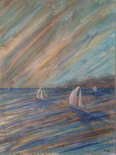 Pier Paolo NUDI - Pintura - Vele Mare Tramonto