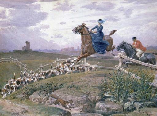 Francesco COLEMAN - Zeichnung Aquarell - Caccia alla volpe nella campagna romana