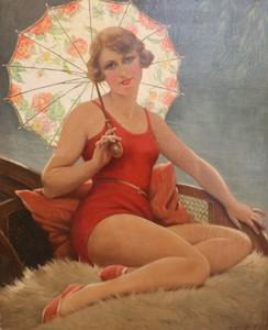 François MARTIN-KAVEL - 绘画 - Baigneuse à l'ombrelle