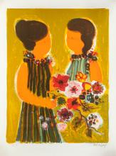 Frédéric MENGUY - Grabado - Femmes aux fleurs