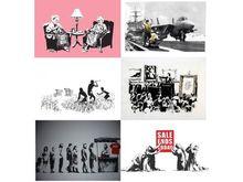 班克斯 - 版画 - Banksy LA SET unsigned 6 print total from the Barely Legal s