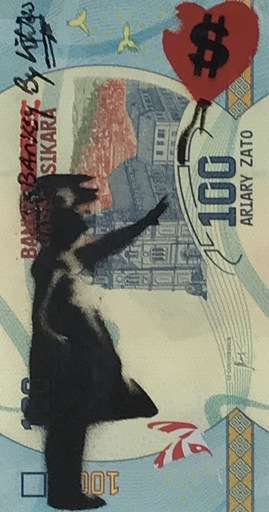 """KIKI - Gemälde - """" Banky-Banksy-by KIKI """" bleu ciel"""