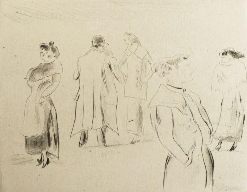 Jules PASCIN - Grabado - Dans la rue 1912