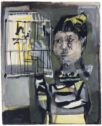 Antoni CLAVÉ - Dessin-Aquarelle - Chica con jaula de pájaros