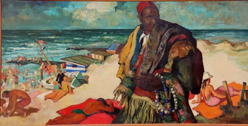 """Raymond DIERICKX - Painting - """"MARCHAND DE TAPIS SUR LA PLAGE EN BELGIQUE"""""""