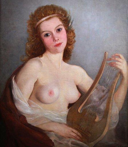 Mária SZANTHO - Pintura - Huile Portrait nu dame avec Lyre portrait nude lady with lyr