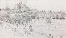 Jean FUSARO - Dibujo Acuarela - Auxerre