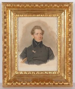 """Josef KRIEHUBER - Painting - """"Portrait of an Aristocrat"""", 1833, Watercolor"""