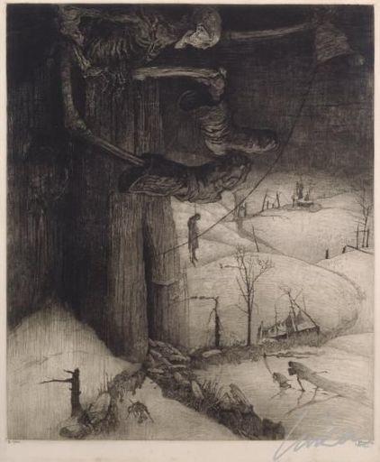 Jules DE BRUYCKER - Grabado - Hier klopt de dood over Vlaanderengouw