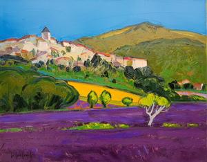 Georges COULOMB - Peinture - Village et lavandes