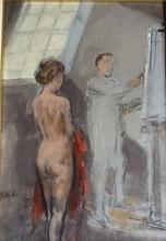 Alberto SUGHI - Painting - IL PITTORE E LA MODELLA