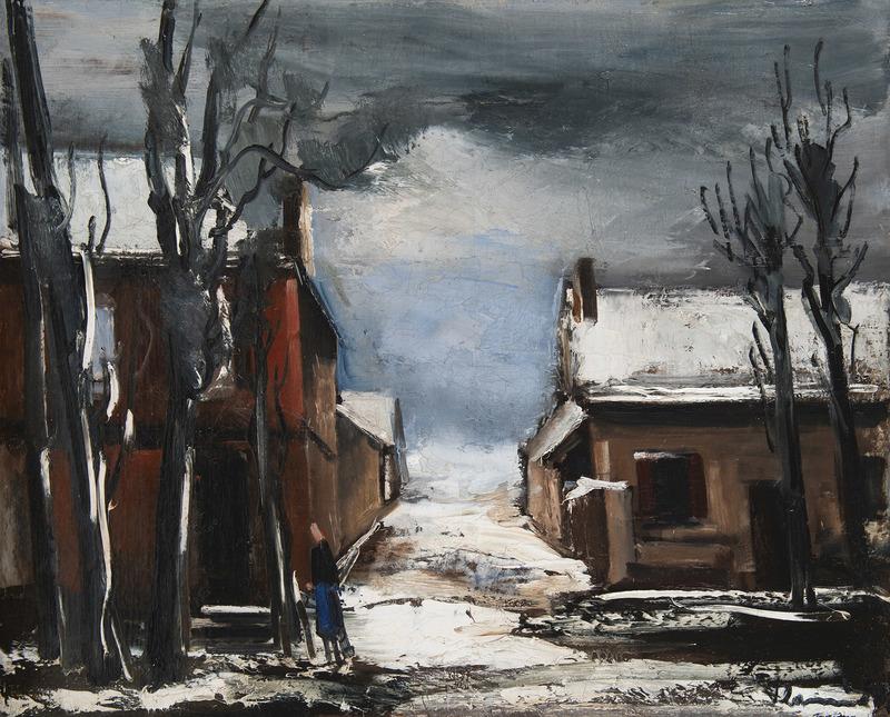 Maurice DE VLAMINCK - Painting - Rue animée sous la neige