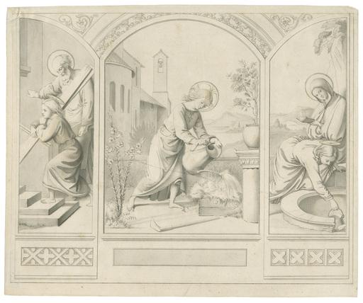 Friedrich OLIVIER - Disegno Acquarello - Jesus als Knabe bei der Ausübung verschiedener Tätigkeiten