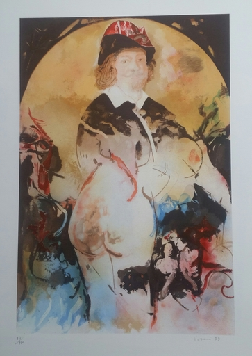 Enrico VISANI - Grabado - Hommage au peintre Jacob Jordaens - Portrait du peintre