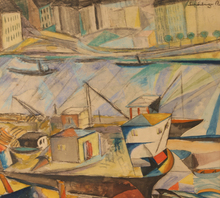 Armand SCHÖNBERGER - Drawing-Watercolor - Boats in Harbor