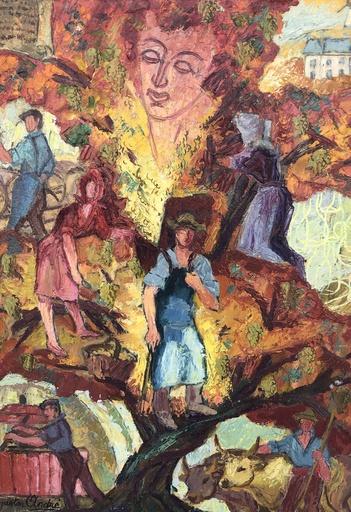 Gaston ANDRE - Painting - Les travaux de la ferme