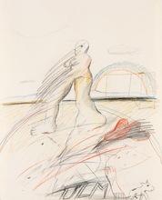 Horst ANTES - Dibujo Acuarela - Weibliche Figur mit rotem Hut und Regenbogen