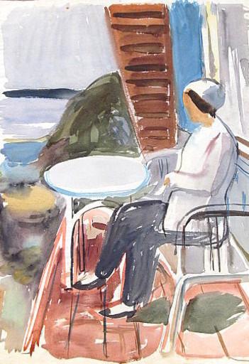 Erich HARTMANN - Dibujo Acuarela - #19949: Frau auf dem Balkon.