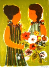 Frédéric MENGUY - Print-Multiple - Two Girls with Flowers