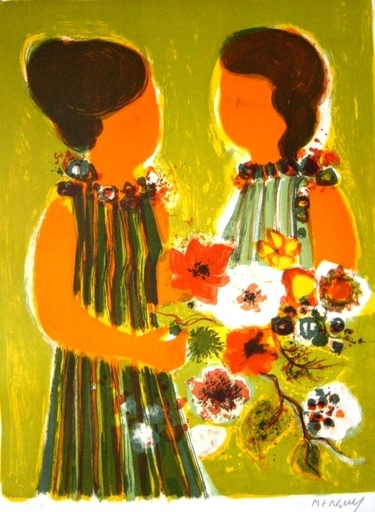 Frédéric MENGUY - Grabado - Two Girls with Flowers