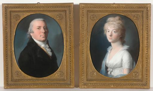 "Johann Heinrich SCHRÖDER - 水彩作品 -  ""Prince Anton Radziwill & his wife Luise of Prussia"", two i"