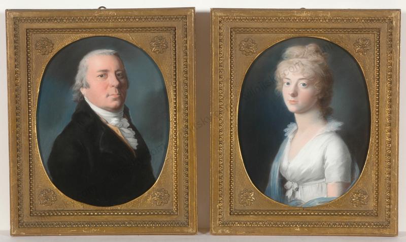 """Johann Heinrich SCHRÖDER - Zeichnung Aquarell -  """"Prince Anton Radziwill & his wife Luise of Prussia"""", two i"""