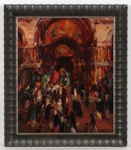 "Edmund PICK-MORINO - Peinture - ""The Great Doorway / St. Mark's Cathedral, Venice"", ca 1925"