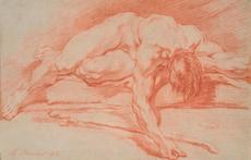 François BOUCHER - Drawing-Watercolor - Académie d'homme allongé