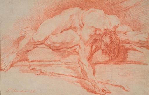 弗朗索瓦·布歇 - 水彩作品 - Académie d'homme allongé