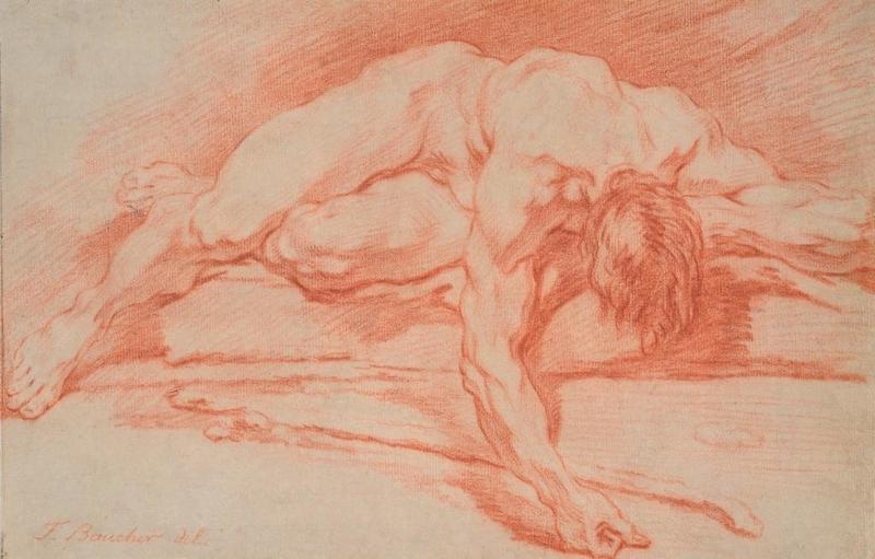 François BOUCHER - Disegno Acquarello - Académie d'homme allongé