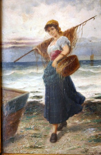 L. PERNETT - Peinture - Retour de la pêche
