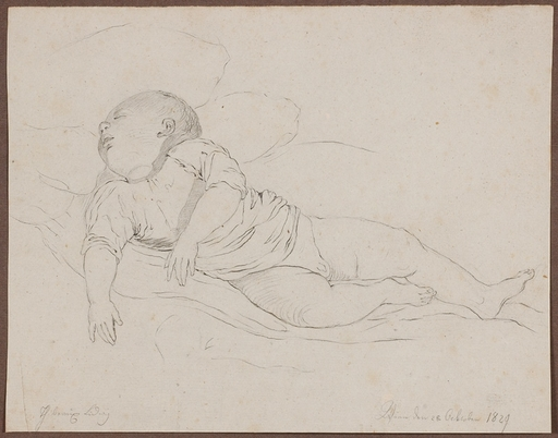 "Ludwig THIBEAUX - Zeichnung Aquarell - ""Sleeping Little Boy"", 1829"