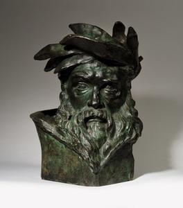 Aimé-Jules DALOU - Escultura - Tête de dieu fleuve, étude pour Le Passage du Rhin