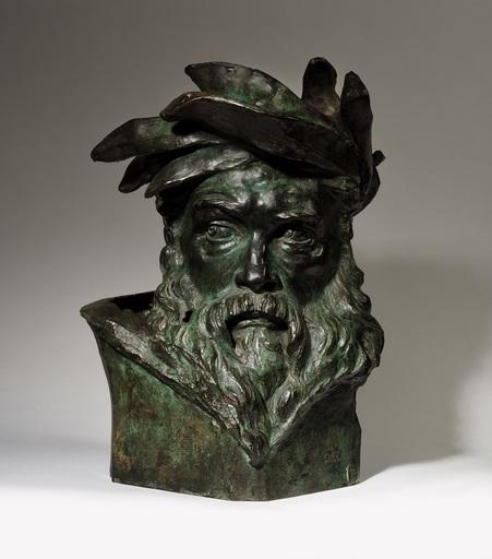 Aimé-Jules DALOU - Sculpture-Volume - Tête de dieu fleuve, étude pour Le Passage du Rhin