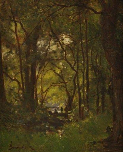 François Louis FRANÇAIS - Pintura - Couple dans un sous bois