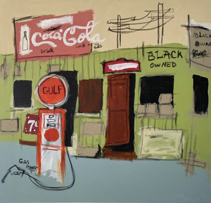 Jammie HOLMES - Painting - Black Gas Station